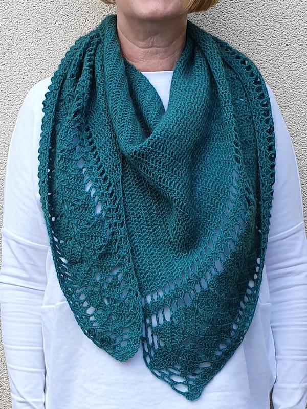 Leaf shawl pattern by Ana D in Amuri merino possum blend