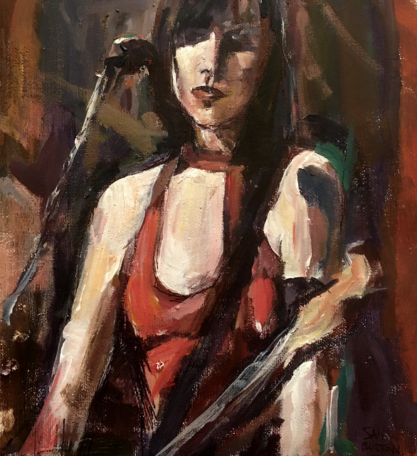 Portrait of the singer PJ Harvey.          https://www.ebay.co.uk/itm/293682098227