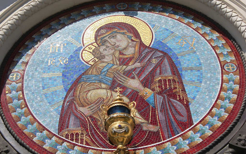 Russia, Holy Moscow, Mary with Jesus - the Fragment of Cathedral Church of Saint Igor of Chernigov in Peredelkino (Соборный храм Святого Игоря Черниговского и Киевского), 7th Lazenki Street, New Moscow, Novo-Peredelkino district. Православнаѧ Црковь.