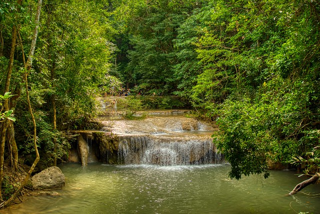 One small step of the Erawan waterfall in Kanchanaburi province, Thailand