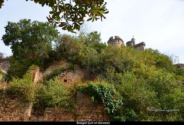 Château de Bonaguil, contre-plongée du bas du village