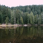 We arrived in the still-dark of early morning, and the water was calm - Memaloose Lake #OregonExplored