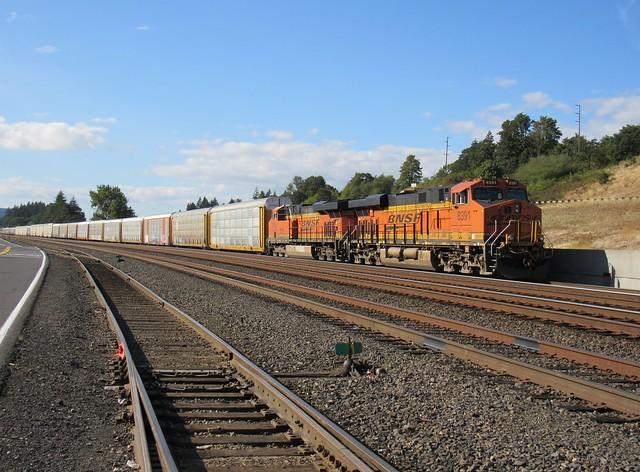 Parked BNSF Autorack Train