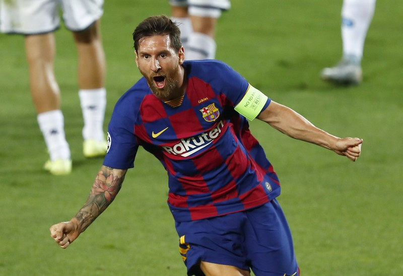 Lionel Messi慶祝進球。(達志影像)