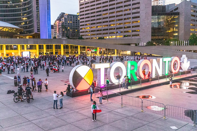 Vigil to pay tribute to the victims of the Beirut explosion @ Nathan Phillips Square, Toronto