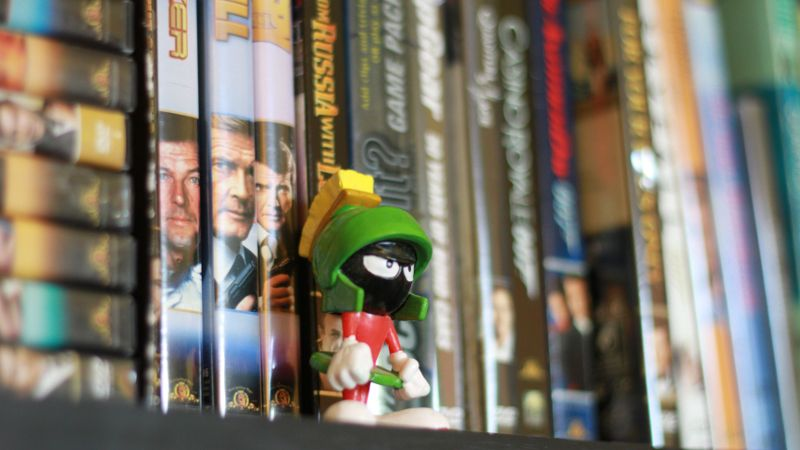 Old DvDs and figurine