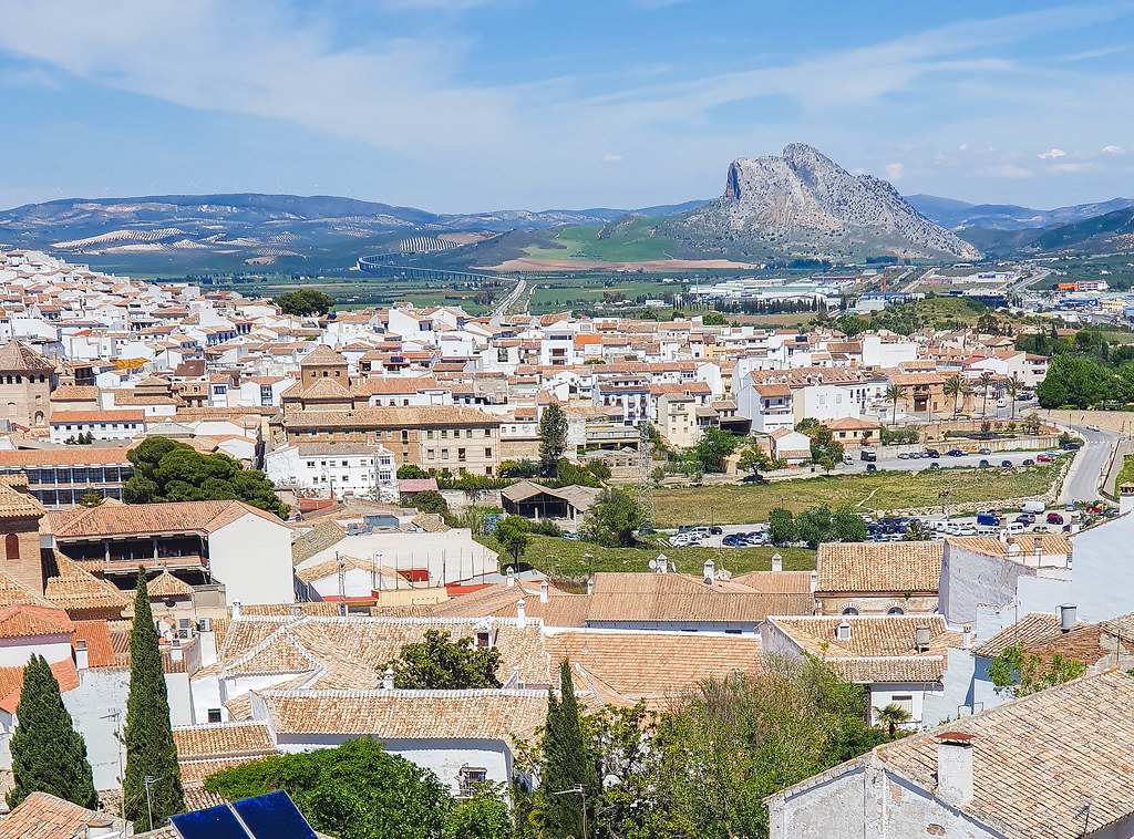 A photo of the rooftops in Antequera. In the background there is a rock resembling a man's face looking up, very famous in Antequera