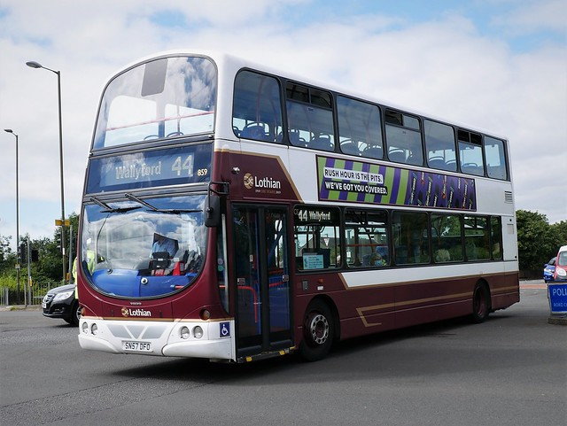 Lothian Volvo B9TL Wright Eclipse Gemini SN57DFO 859 operating service 44 to Wallyford at Duddingston Crescent on 6 August 2020.