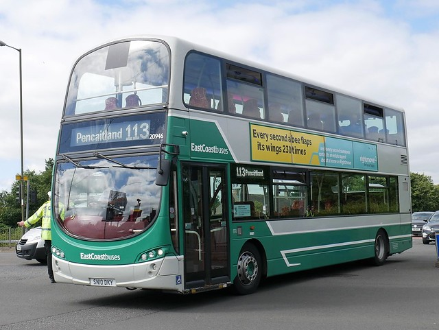 East Coast Buses Volvo B9TL Wright Eclipse Gemini 2 SN10DKY 20946, former Lothian 946, operating service 113 to Pencaitland at Duddingston Crescent on 6 August 2020.