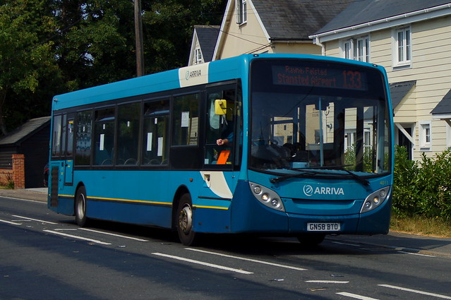 Straying: Arriva Colchester ADL Enviro200 GN58BTO (4011) Dunmow Road Little Canfield 09/08/20