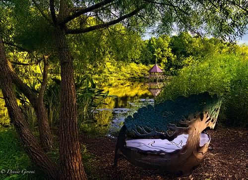 meadowlark virginia background gazebo reflection summer sunset water