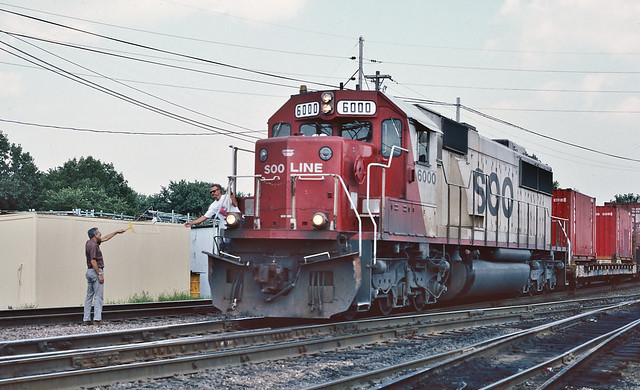 Soo Line 6000 west in Bensenville, Illinois on August 8, 1993.