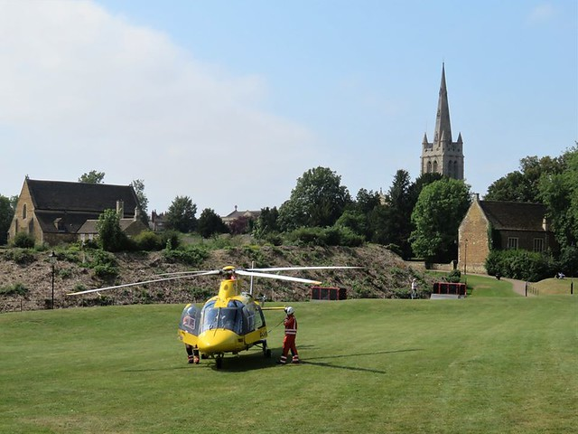 Air Ambulance Helicopter @Helimed54 taking off from Cutts Close Oakham Rutland