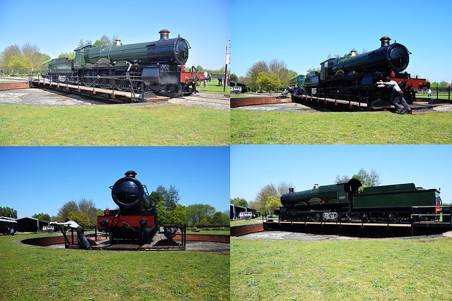 Newly recreated Saint Class Locomotive No. 2999 'Lady of Legend'  demonstration turn on the 1885 Ransomes & Rapier (Ipswich)Turntable at Didcot Railway Centre. 21 04 2019