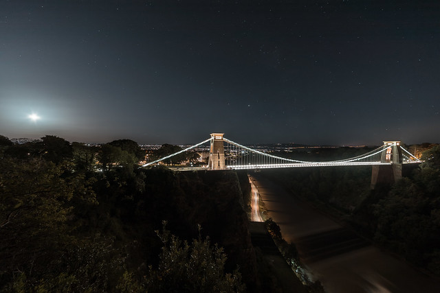 Clifton suspension bridge and the milky way