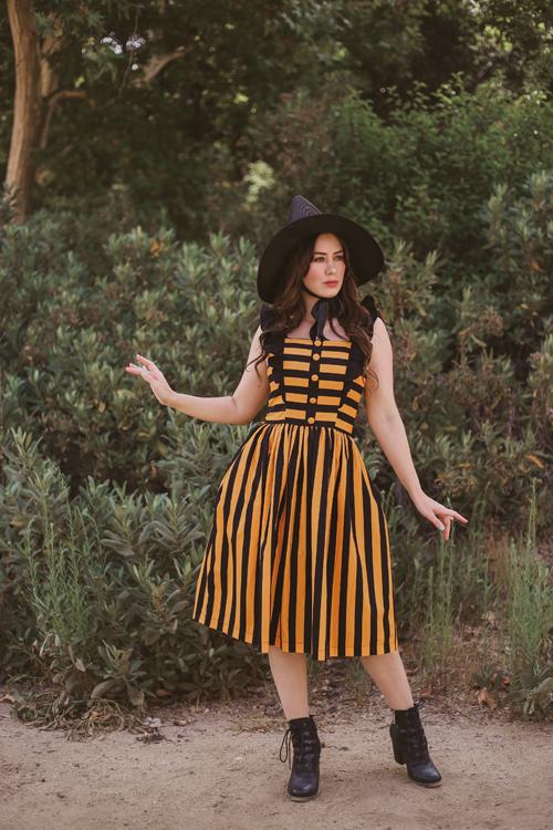 Unique Vintage Molly Swing Dress in Orange and Black Stripe
