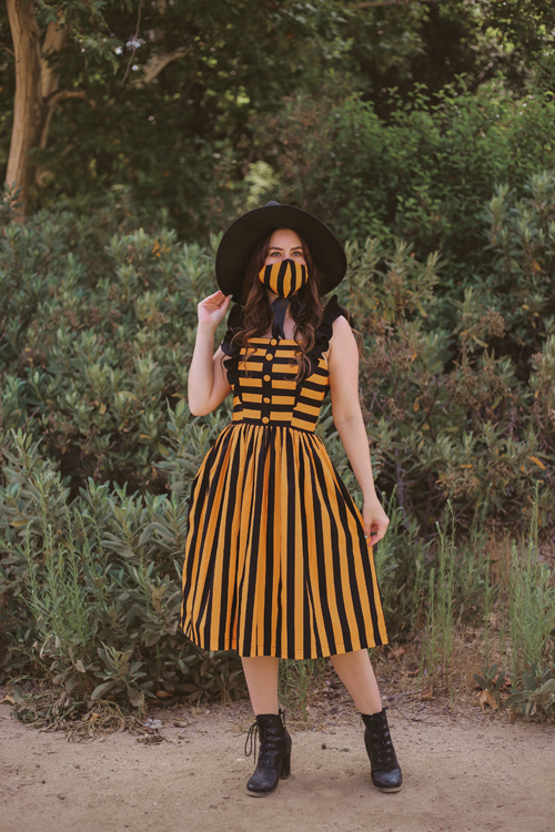 Unique Vintage Molly Swing Dress in Orange and Black Stripe