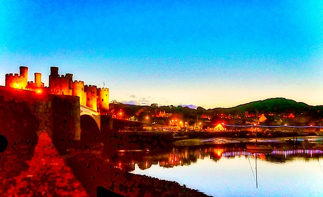Twilight in Conwy Wales
