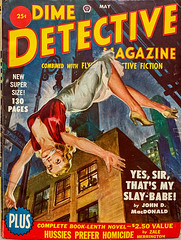 """Dime Detective Magazine,"" Vol. 63, No. 1 (May 1950). Combined with Flynn's Detective Fiction.  Cover Art by Norm Saunders."