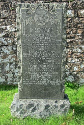 Annan Cemetery, War Inscription