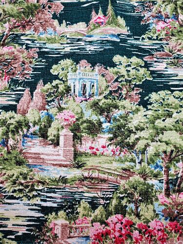 Vintage Mid Century Secret Garden Fabric Yardage
