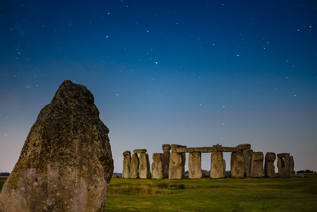 Stonehenge Under a Bright Moonlit Sky