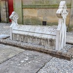 Old tomb at the revamped graveyard at St George's Church in Preston