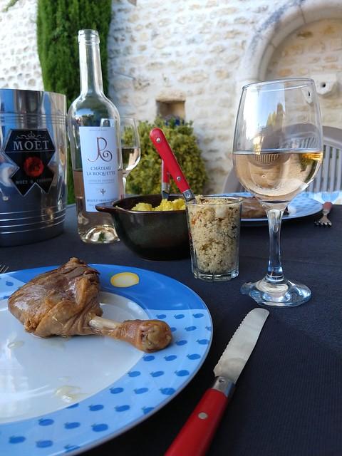 Dinner in the Garden - Confit de Canard, Tabouleh, Salade au Thon Pommes de Terre, Château La Roquette Rosé