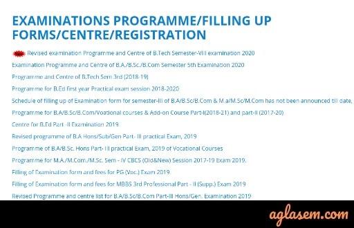 Ranchi University Examination programme
