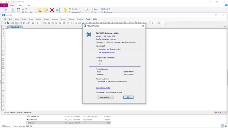 Working with CSI SAP2000 Ultimate 22.1.0 Build 1639 full license