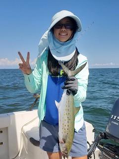 """Elizabeth Lee holds up a nice 22"""" Spanish mackerel. Photo courtesy of Elizabeth Lee."""