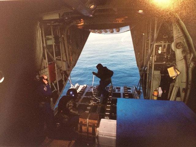 Blayne Harshbarger performing his duties in the U.S. Coast Guard