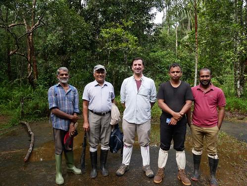 Fri, 10/06/2017 - 22:31 - from left to right: Jayarathne Bandara, Prof. Nimal Gunatilleke, Dr. Stuart Davies, Prof. Sisira Ediriweera, and Champika Bandara at the Sinharaja field station