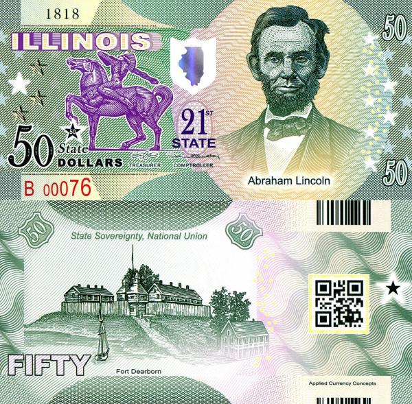 USA 50 Dollars 2015 21. štát - Illinois polymer