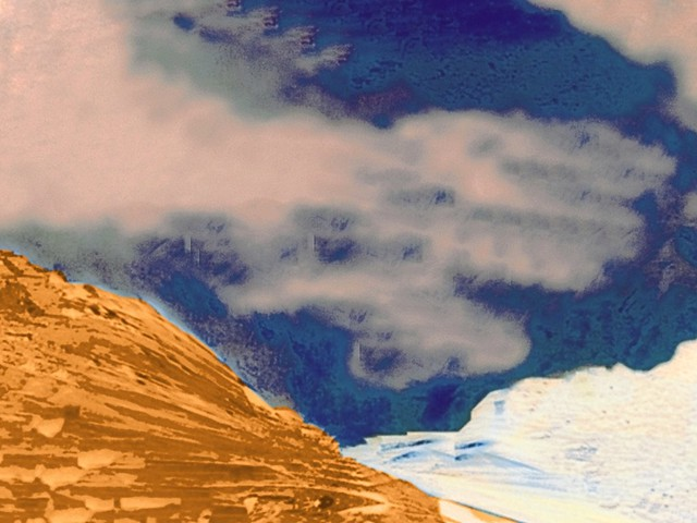 The Gold And White Mountains With Cloudy Night Sky - Edited Photo Created by STEVEN CHATEAUNEUF On August 10, 2020 - Created From Another Edited Photo From March 2, 2016