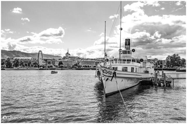 My Lovely Geneva - Lac Léman Panorama - D50_1429 b&w