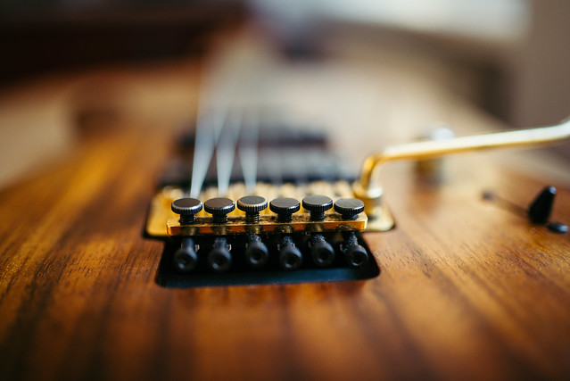 Floyd rose details on electric guitar.