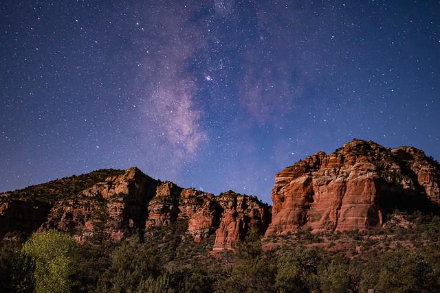 Night under the stars in Sedona Arizona