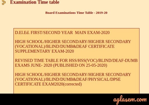 MP D.El.Ed Exam Time Table