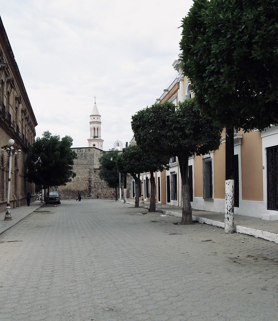 Street with church steeple, El Fuerte, Mexico