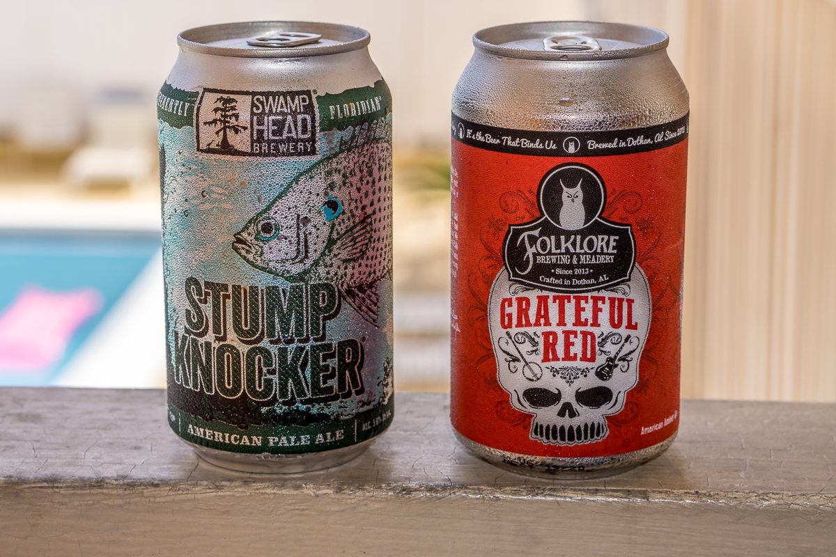 Swamp Head Brewery's Stump Knocker and Folklore Brewing and Meadery's Greatful Red