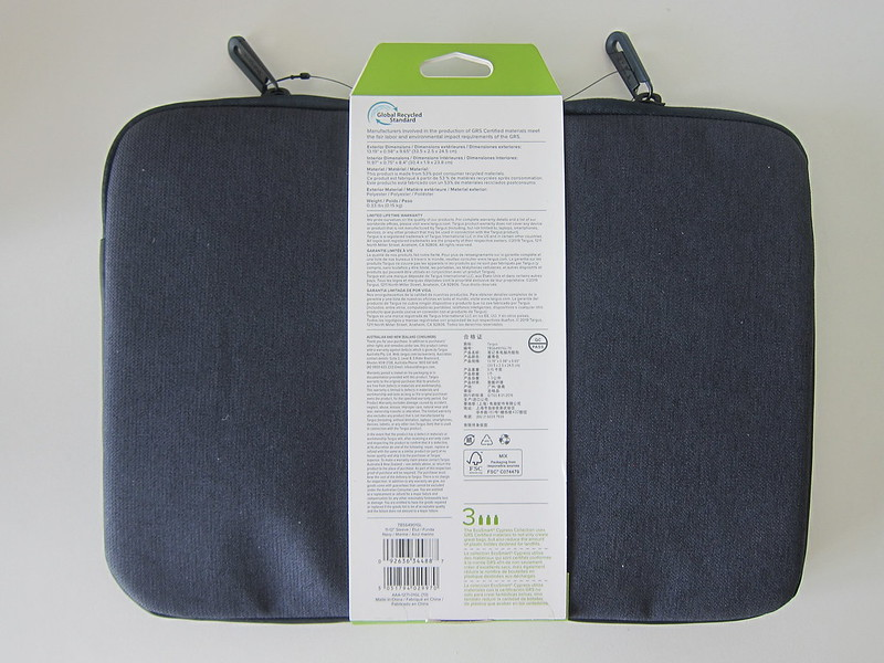 Targus Cypress EcoSmart 11 - 12 Inch Sleeve - Packaging - Back