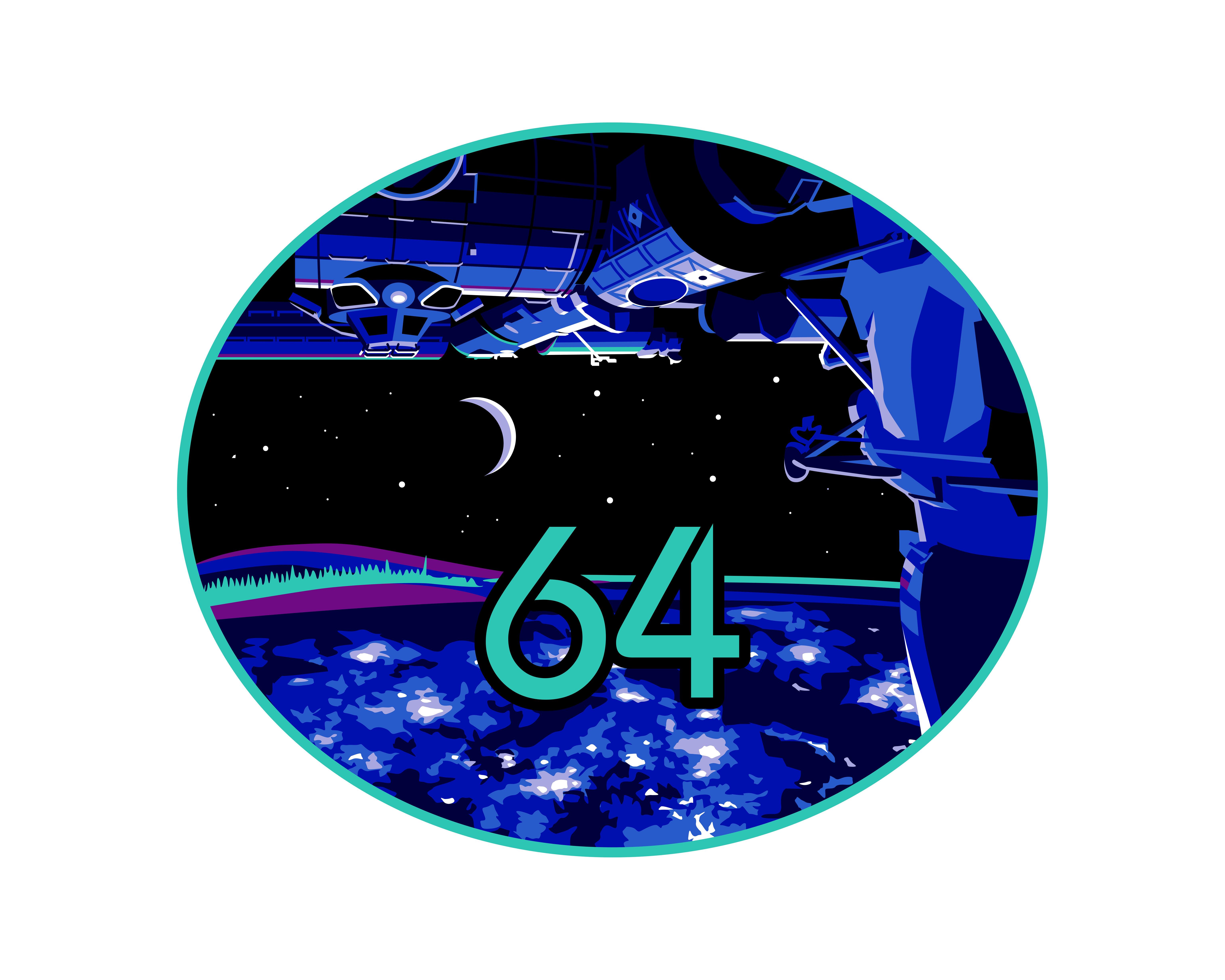 эмблема 64 миссии МКС( Рыжиков, Кудь-Сверчков, Рубинс)