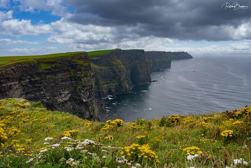 irland ireland europa europe himmel wolken sky clouds landschaft landscape pflanzen plants küste coast meer ocean felsen rocks abgrund klippen insel wasser water natur nature nikond80 cliffs