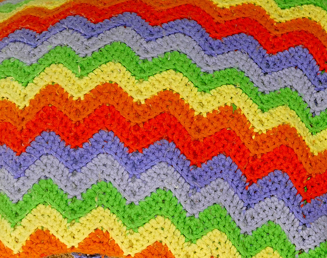 accoutrement; hand-made rainbow afghan quilt  7-20