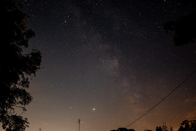 The Milky Way with Jupiter and Saturn shining bright.