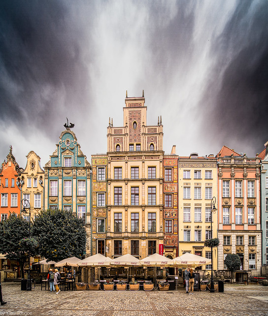 Beautiful set of buildings forming Długi Targ portion of the Royal Route, Gdańsk, Poland.  680-Edit-Edit-2