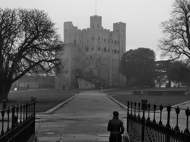 In the fog - Rochester Castle keep, c1125, Rochester, Kent, England.