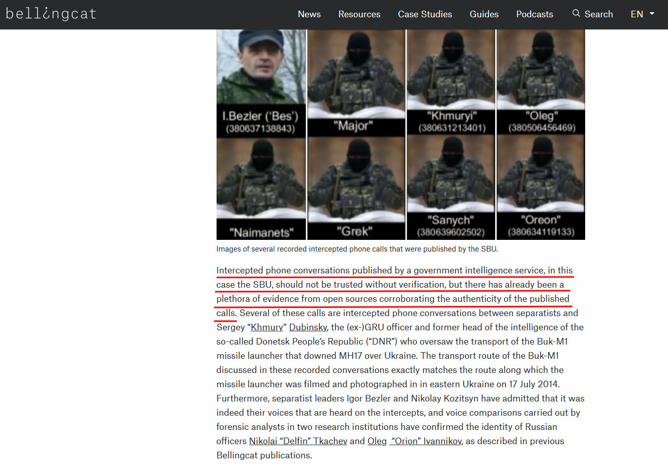 Screenshot from Bellingcat site