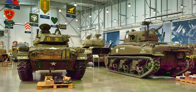 Sherman and Chaffee tanks